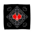ERIKOERIN ART SHOPの「浪漫花」-QUEEN-/タオルハンカチ(ブラック) Towel handkerchiefs