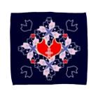 ERIKOERIN ART SHOPの「浪漫花」-QUEEN-/タオルハンカチ(ネイビー) Towel handkerchiefs