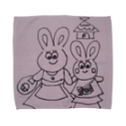 nikonikopageのうさぎの親子のお出かけ Towel handkerchiefs