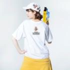 oniwaka うぇぶしょうてんのマシラ 背面ロゴ入り Washed T-shirtsの着用イメージ(裏面)
