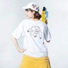 キューカンバー・ガールのsloth なまけもの(w/b) Washed T-shirtsの着用イメージ(裏面)