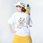 ちるまの店の(表裏で食前食後)ピョウにゃんの食卓 Washed T-shirtsの着用イメージ(裏面)