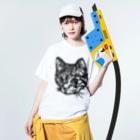 sawallowのShimajiro The Cat Washed T-shirtsの着用イメージ(表面)