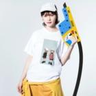 木ノ下商店の冬ジャージ双子 Washed T-shirtsの着用イメージ(表面)
