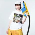 kaeruco(* 皿 *)のStay 段ボールhome Washed T-shirtsの着用イメージ(表面)