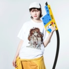 kyouchaaan1210のリボンを付けた少女 Washed T-shirtsの着用イメージ(表面)