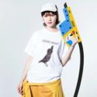 NIKORASU GOのユーモアメッセージデザイン「元気プリーズ」 Washed T-shirtsの着用イメージ(表面)