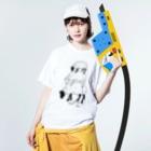 Aliviostaのヒツジ -Summer Fashion- 3段 羊 動物イラスト  Washed T-shirtsの着用イメージ(表面)