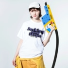 HOUSE DANCE MANIAのJacking and Steps パープル Washed T-shirtsの着用イメージ(表面)