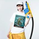nidan-illustrationのSUZUMEBACHI -NINJA BORG- Washed T-shirtsの着用イメージ(表面)