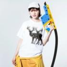 majiodesignのdeeeeeeer Washed T-shirtsの着用イメージ(表面)