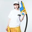 pukomon.の寝ぱぐもん。 Washed T-shirtsの着用イメージ(表面)