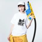 えひと屋のラクガキアートTシャツ Washed T-shirtsの着用イメージ(表面)