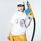 ★ 藤崎幾何 ★ illustrationのおやすみ キャップの女の子 Washed T-shirtsの着用イメージ(表面)