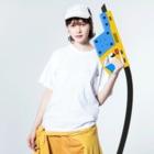 たつおと海子 公式ショップのSeasideKitchen(シンプル) Washed T-shirtsの着用イメージ(表面)