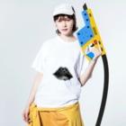 Skybluehypeのパターン・リップ Washed T-shirtsの着用イメージ(表面)