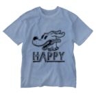 nidan-illustrationのhappy dog #1 (black ink) Washed T-shirts