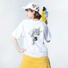 推 愛 OShiROの道は作りますので Washed T-shirtsの着用イメージ(裏面)