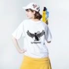 Màau Music.貓音樂 マウミュージックネコショップの貓羽ちゃん背面デカプリT Washed T-Shirtの着用イメージ(裏面)
