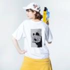HK mr,s405 shopのしょえパンD Washed T-Shirtの着用イメージ(裏面)