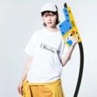 MinatoのBokura noCamp.黒文字しんぷる Washed T-shirtsの着用イメージ(表面)