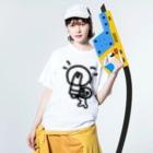 Venizakuraのひらめいたくん Washed T-shirtsの着用イメージ(表面)