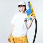 ル.ボヌールのテニス頑張るパンダちゃん Washed T-shirtsの着用イメージ(表面)