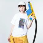 jeniの巨大猫 Washed T-shirtsの着用イメージ(表面)