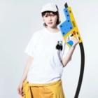 HKG パンダのこんにちは🐼パンダ Washed T-Shirtの着用イメージ(表面)