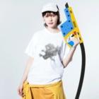 KIGAMINEのはばたき白頭鷲くん Washed T-shirtsの着用イメージ(表面)