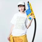 yuruholismの幾何学模様 ピンク イエロー グリーン ブルー シンプル Washed T-shirtsの着用イメージ(表面)