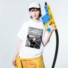 ぱんだのムンクの叫び リトグラフ Washed T-shirtsの着用イメージ(表面)