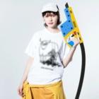 risacanのyak shaving Washed T-shirtsの着用イメージ(表面)
