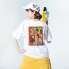 Kazumichi Otsubo's Souvenir departmentの錆びて剥がれて灼熱 ~ レッド&グリーン Washed T-shirtsの着用イメージ(裏面)