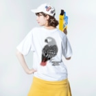 Tree Sparrowのヨウム Washed T-shirtsの着用イメージ(裏面)