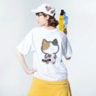 ねこぱんつのみけぱん Washed T-shirtsの着用イメージ(裏面)