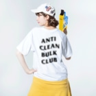 genseのANTI CLEAN BULK CLUB(BLACK font) Washed T-shirtsの着用イメージ(裏面)