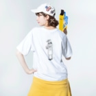 鳥と毛布の影絵 Washed T-shirtsの着用イメージ(裏面)