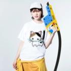 りんご姫〜lovely comaのねこちゃん Washed T-shirtsの着用イメージ(表面)
