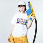 shu-shuの水彩イラスト シカ Washed T-shirtsの着用イメージ(表面)