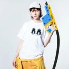 mashibuchiのくろロボットコンビ Washed T-shirtsの着用イメージ(表面)