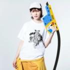 稲尾のウンピョウ Washed T-shirtsの着用イメージ(表面)