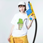 アメリカンベースのソフトドリンク・カエル Washed T-shirtsの着用イメージ(表面)