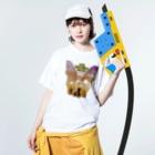 Hilo Diego Design Shopのボストンテリア ICE HOCKEY WARS(アイスホッケー ウォーズ)  Washed T-shirtsの着用イメージ(表面)