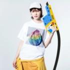 manualohaの虹色アイスクリーム Washed T-shirtsの着用イメージ(表面)
