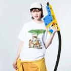 まなつ&まふゆの春雨 Washed T-shirtsの着用イメージ(表面)