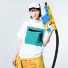 ワンデー・アイデアのソーシャルディスタンスヤンキー Washed T-shirtsの着用イメージ(表面)