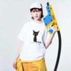 tsubasamoonの黒猫ムーン New Big  Washed T-shirtsの着用イメージ(表面)