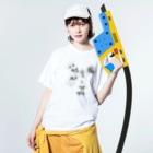 オガサワラミチの椎茸ナイン Washed T-shirtsの着用イメージ(表面)