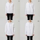 斬る'em ALLの【KJデザイン】MEGALO MANIA-004 #MGLMNA Zip Hoodiesのサイズ別着用イメージ(女性)
